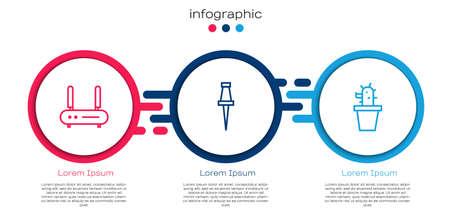 Set line Router and wifi signal, Push pin and Cactus succulent pot. Business infographic template. Vector Ilustração