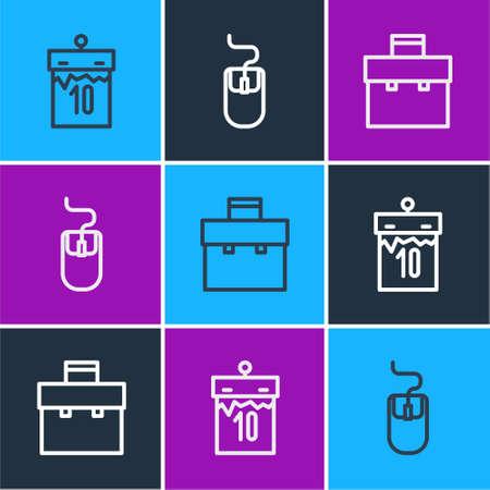 Set line Calendar, Briefcase and Computer mouse icon. Vector