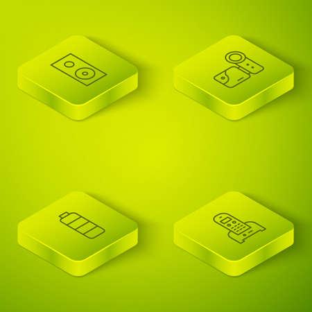 Set Isometric Cinema camera, Battery charge level indicator, Telephone and Stereo speaker icon. Vector