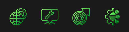 Set line Gear and arrows as workflow process, Globe of the Earth gear, Location with wrench spanner and Algorithm. Gradient color icons. Vector Ilustração