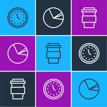 Set line Clock, Coffee cup to go and Pie chart infographic icon. Vector Ilustração
