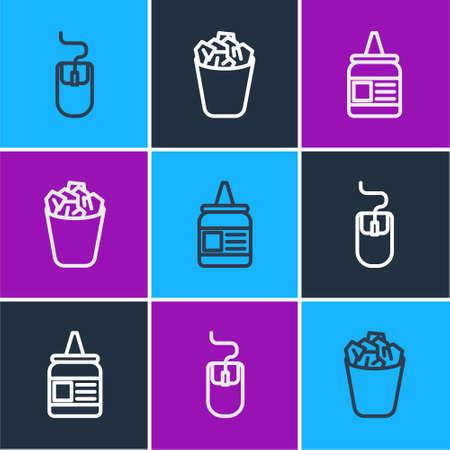 Set line Computer mouse, Glue and Full trash can icon. Vector Ilustração
