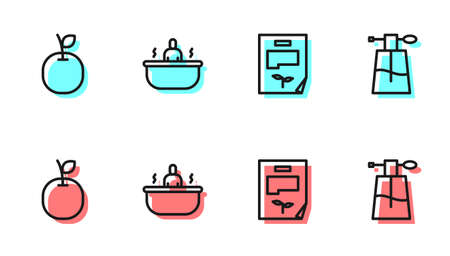 Set line Leaf document, Apple, Bathtub and Perfume icon. Vector