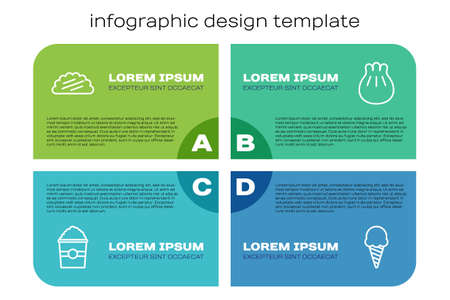 Set line Popcorn in box, Taco with tortilla, Ice cream waffle cone and Khinkali cutting board. Business infographic template. Vector