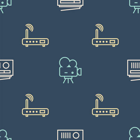 Set line Radio with antenna, Router and wifi signal and Retro cinema camera on seamless pattern. Vector