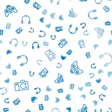 Set line Photo camera, Wireless gamepad and Headphones on seamless pattern. Vector Ilustração
