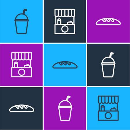 Set line Milkshake, Bread loaf and Street stall with awning icon. Vector