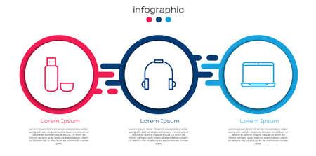 Set line USB flash drive, Headphones and Laptop. Business infographic template. Vector Ilustração