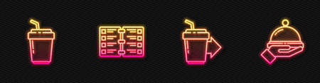 Set line Coffee cup to go, , Restaurant cafe menu and Covered with tray food. Glowing neon icon. Vector