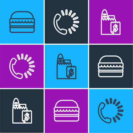 Set line Burger, Online ordering and delivery and Food icon. Vector