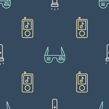 Set line Flashlight, Music player and Smart glasses on seamless pattern. Vector