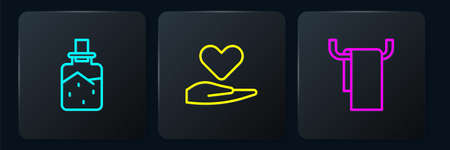 Set line Spa salt, Towel on hanger and Heart hand. Black square button. Vector