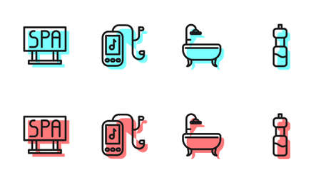 Set line Bathtub, Spa salon signboard, Music player and Bottle of water icon. Vector
