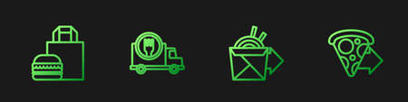 Set line Online ordering noodles delivery, burger, Fast by car and pizza. Gradient color icons. Vector