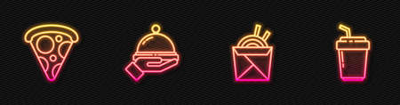 Set line Asian noodles and chopsticks, Slice of pizza, Covered with tray food and Coffee cup to go. Glowing neon icon. Vector