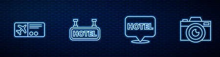 Set line Location hotel, Airline ticket, Signboard with text Hotel and Photo camera. Glowing neon icon on brick wall. Vector Ilustração