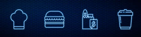Set line Online ordering and delivery, Chef hat, Burger and Coffee cup to go. Glowing neon icon on brick wall. Vector