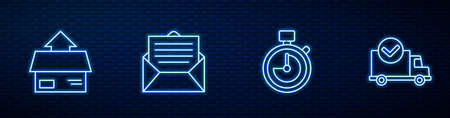 Set line Stopwatch, Carton cardboard box, Envelope and Delivery truck with check mark. Glowing neon icon on brick wall. Vector