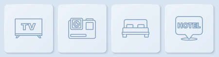Set line Smart Tv, Big bed, Action extreme camera and Location hotel. White square button. Vector