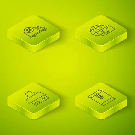 Set Isometric Worldwide shipping and box, Carton cardboard, Envelope and Delivery cargo truck vehicle icon. Vector