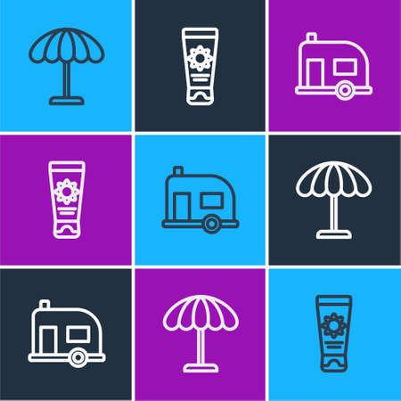 Set line Sun protective umbrella for beach, Rv Camping trailer and Sunscreen cream tube icon. Vector