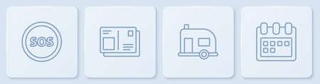 Set line Location with SOS, Rv Camping trailer, Passport visa stamp and Calendar. White square button. Vector Ilustração