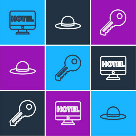 Set line Online hotel booking, Key and Elegant women hat icon. Vector