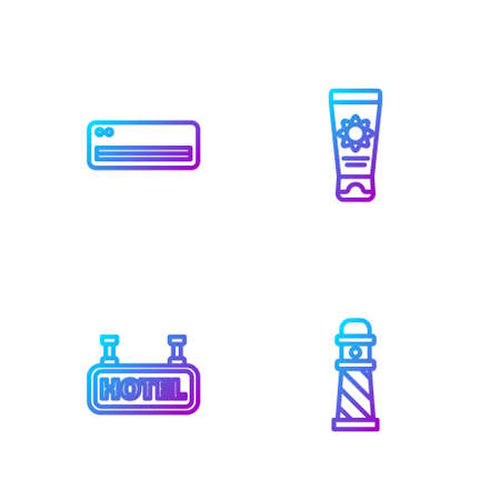 Set line Lighthouse, Signboard with text Hotel, Air conditioner and Sunscreen cream in tube. Gradient color icons. Vector