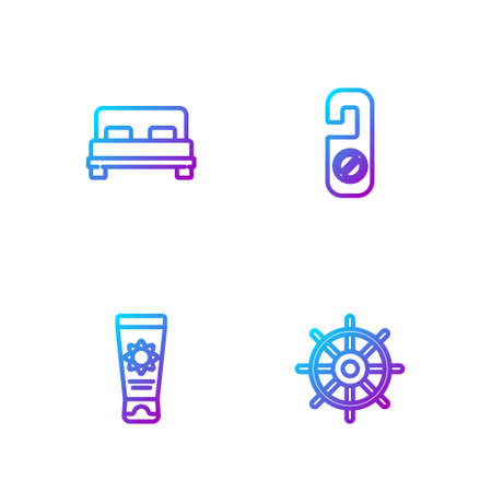 Set line Ship steering wheel, Sunscreen cream tube, Big bed and Please do not disturb. Gradient color icons. Vector