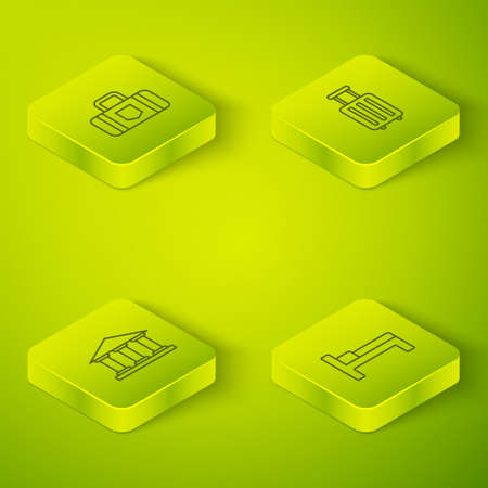 Set Isometric Suitcase, Museum building, Bed and icon. Vector