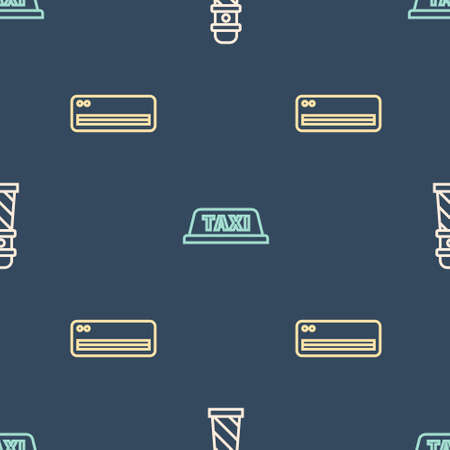 Set line Lighthouse, Air conditioner and Taxi car roof on seamless pattern. Vector