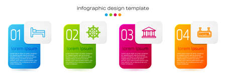 Set line Bed, Ship steering wheel, Museum building and Signboard with text Hotel. Business infographic template. Vector