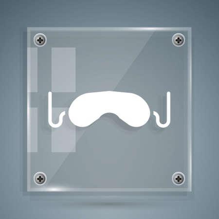 White Eye sleep mask icon isolated on grey background. Square glass panels. Vector Illustration