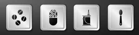 Set Medicine pill or tablet, Medicine pill or tablet, Electronic cigarette and Heroin in a spoon icon. Silver square button. Vector Ilustración de vector