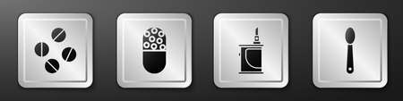 Set Medicine pill or tablet, Medicine pill or tablet, Electronic cigarette and Heroin in a spoon icon. Silver square button. Vector
