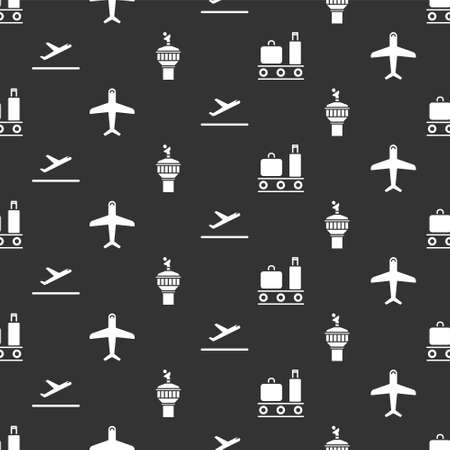 Set Airport conveyor belt with suitcase, Plane, Plane takeoff and Radar on seamless pattern. Vector