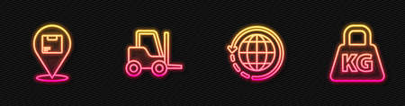 Set line Worldwide shipping and box, Location with cardboard, Forklift truck and Weight. Glowing neon icon. Vector