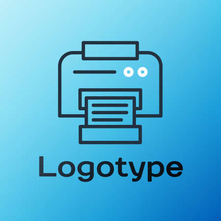Line Printer icon isolated on blue background. Colorful outline concept. Vector Illustration 向量圖像