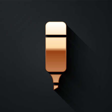 Gold Marker pen icon isolated on black background. Long shadow style. Vector Illustration