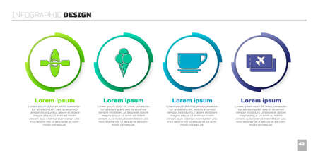 Set Kayak or canoe, Ice cream in waffle cone, Coffee cup and Airline ticket. Business infographic template. Vector Vetores