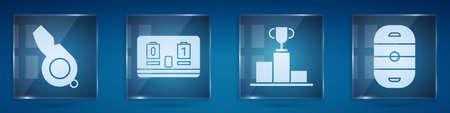 Set Whistle, Hockey mechanical scoreboard, Hockey over sports winner podium and Ice hockey rink. Square glass panels. Vector