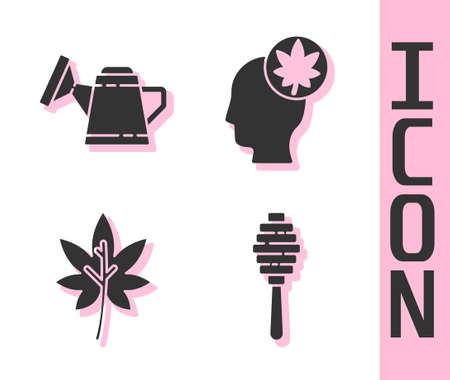 Set Honey dipper stick, Watering can, Leaf or leaves and Human head with leaf icon. Vector Illustration