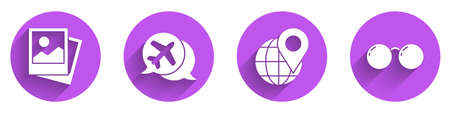 Set Photo, Speech bubble with airplane, Location on the globe and Glasses icon with long shadow. Vector