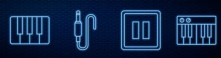 Set line Pause button, Music synthesizer, Audio jack, Music synthesizer and Drum sticks. Glowing neon icon on brick wall. Vector