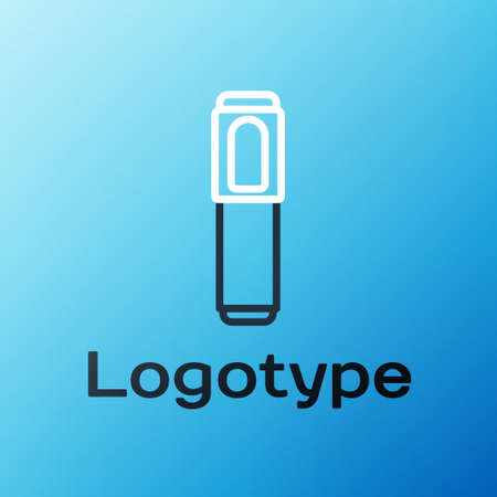 Line Marker pen icon isolated on blue background. Colorful outline concept. Vector Illustration