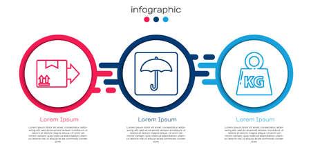 Set line Cardboard box with traffic symbol, Umbrella and Weight. Business infographic template. Vector Ilustração