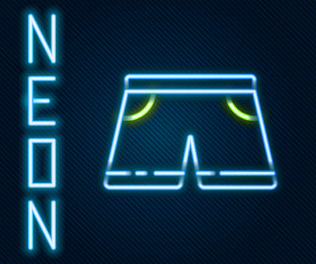 Glowing neon line Swimming trunks icon isolated on black background. Colorful outline concept. Vector Illustration