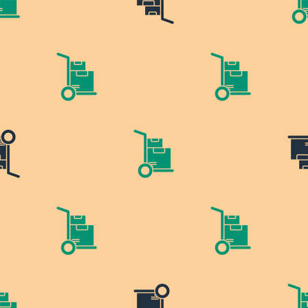 Green and black Hand truck and boxes icon isolated seamless pattern on beige background. Dolly symbol. Vector Illustration