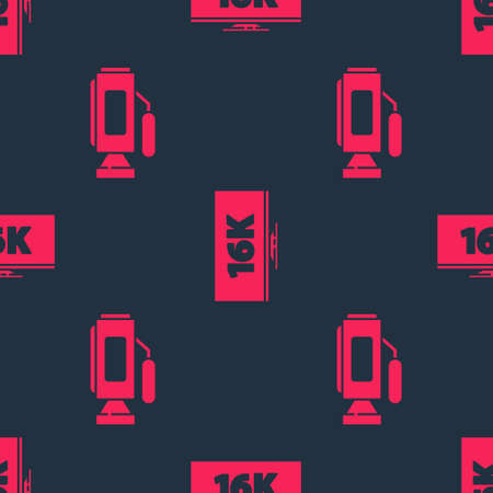 Set Cinema camera and Screen tv with 16k on seamless pattern. Vector