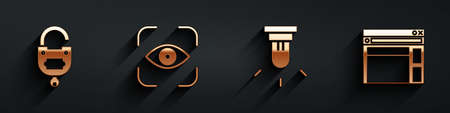 Set Lock and key, Eye scan, Motion sensor and Website template icon with long shadow. Vector
